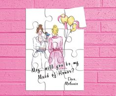 Maid of Honor Gift Puzzle Invitation. by TwoCrewDesign on Etsy