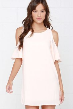 Kiss the Girl Peach Off-the-Shoulder Shift Dress