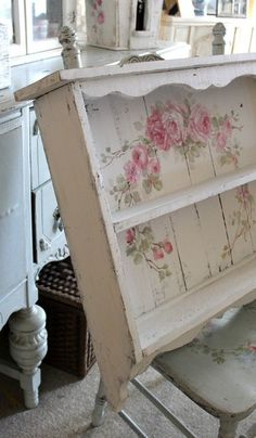 Custom Color and Decorative Shabby Chic Large Vintage Style Roses Shelf - Debi C. - Custom Color and Decorative Shabby Chic Large Vintage Style Roses Shelf – Debi Coules Romantic Ar - Rose Shabby Chic, Shabby Chic Mode, Romantic Shabby Chic, Shabby Chic Interiors, Shabby Chic Bedrooms, Shabby Chic Decor, Vintage Home Decor, Vintage Furniture, Furniture Ideas