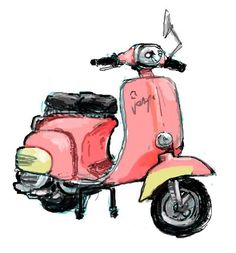 I would drive this in Del Rio Vespa Illustration, Watercolor Illustration, Art Sketches, Art Drawings, Voyage Rome, Classic Vespa, Vintage Cycles, Vespa Girl, Vespa Scooters