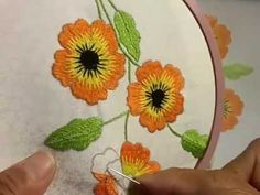 Hand Embroidery Designs:Bordado, In this DIY Stitching Tutorial you will learn variation of kadai kamal stitch. You'll need just a couple of special supplies: a design (of course), an embroidery hoop (found at craft and fabric stores), hand embroidery th Hand Embroidery Patterns Flowers, Hand Embroidery Videos, Embroidery Stitches Tutorial, Simple Embroidery, Embroidery Works, Hand Embroidery Designs, Embroidery Techniques, Beaded Embroidery, Machine Embroidery