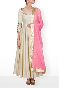 Beige Anarkali gown with blush pink dupatta, off white bridal trousseau salwar kameez suit set with contrast pink dupatta sequins embroidery Indian Gowns, Indian Attire, Pakistani Dresses, Indian Wear, Indian Outfits, Ethnic Outfits, White Anarkali, Anarkali Dress, Red Lehenga