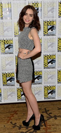 Lily Collins 2013 Comic Con style | black & white cropped top & high-waist shorts