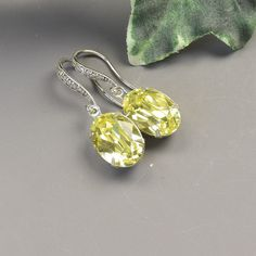 Yellow Bridesmaid Earrings Set of 9 Yellow Citrine Earrings for Bridesmaids Silver ES9