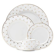 The playfully chic style of kate spade new york& Larabee Road Gold Dinnerware will enliven any table setting. Pretty polka dots and banding in gold paired with bone china create a sly but sophisticated look that is perfect for relaxed fine dining. Dinnerware Sets, Holiday Dinnerware, Plate Sets, Place Settings, Fine Dining, Dinner Plates, Bone China, Yorkie, Cup And Saucer