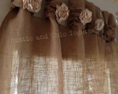 Burlap wide ruched tabs curtain tea dyed от RusticChicTogether