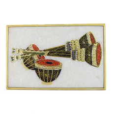 Arts in India Embossed Miniature Painting of Indian Music Instruments on Marble | eBay