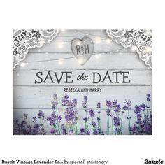 Rustic Vintage Lavender Save the Date Cards