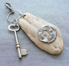 Steampunk Driftwood Key/ Bag Chain
