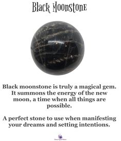 Black moonstone Black Crystals, Crystals And Gemstones, Stones And Crystals, Crystal Magic, Crystal Healing Stones, Black Moonstone, New Energy, Crystal Meanings, Natural Healing