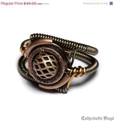 Steampunk Jewelry - RING - Copper (Custom size available - see description). $35.00, via Etsy.