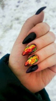 orange yellow black geometric nails