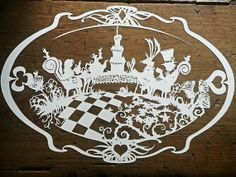 Alice in Wonderland 'Tea Party' Large Laser Cut Silhouettes, Paper Art, Paper Crafts, Alice In Wonderland Tea Party, Paper Magic, Kirigami, Craft Party, Disney Mickey Mouse, Homemade Gifts