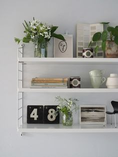[AD] How to add character to a new build home - shelving ideas - string shelf - string pocket shelf Ceiling Shelves, White Wall Shelves, Floating Shelves, Corner Shelves, Living Room Shelves, Shelves In Bedroom, Living Room Decor, String Shelf, Home Interior Accessories