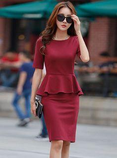 Shop Half Sleeve Falbala Slit Bodycon Dress at EZPOPSY. Nice Dresses, Casual Dresses, Short Dresses, Fashion Dresses, Dresses With Sleeves, Tight Dresses, Women's Dresses, Hot Dress, Peplum Dress