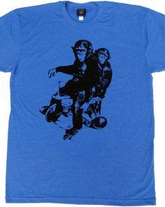 Monkeys on Bikes, Cycling T-shirt, Chimps, Mens Womens, Heather Blue