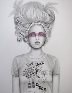 Vive Le Rock, Raffaella Artist. Portrait. Pencils and ink on paper. Will make a statement framed and hung in the entrance or hallway.