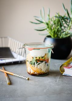 No more styrofoam noodle cups! Make this healthy Thai Curry Noodle Soup in a jar and enjoy a delicious (and easy! Ways To Eat Healthy, Healthy Dinner Recipes, Soup Recipes, Vegetarian Recipes, Healthy Meals, Healthy Eating, Free Recipes, Clean Eating, Gourmet