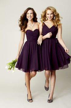 Short, chiffon bridesmaid dresses. Kennedy Blue Bridesmaid Dress Sydney (left) and Chloe (right) | www.KennedyBlue.com