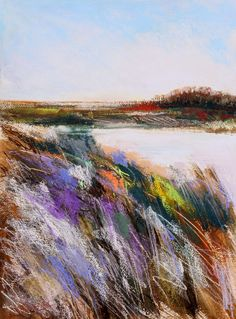 Daily Painters Abstract Gallery: Frosted Field Three, abstract landscape by Carol Engles