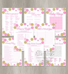 Pink and Gold Baby Shower Game Package by 3SweetCheeksDesigns