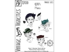 1930's Hats various sizes PDF sewing pattern VSV 37001 | Etsy