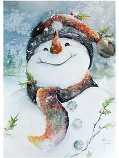 snowman watercolor illustration - Google Search