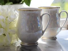 Mother of pearl white Iridescent Bone China Mug with gold trim