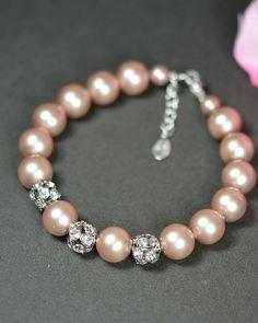 Monogram bracelet .Wedding Jewelry Bridesmaid Gift Bridesmaid Jewelry Bridal Jewelry .peach champagne bracelet . Peach champagne wedding on Etsy, $39.99