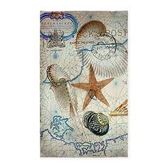 Bathroom Rugs Ideas | CafePress  Seashells Nautical Map Vintage Anchor 3X5 Area R  Decorative Area Rug Fabric Throw Rug ** Click on the image for additional details. Note:It is Affiliate Link to Amazon. #love