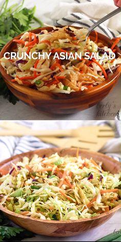 Crunchy Asian Salad - Easy Asian Salad makes a tasty side dish. Asian salad video, Asian salad recipe, Vegetarian Asian s - Crunchy Asian Salad, Asian Slaw, Asian Coleslaw, Tasty Videos, Food Videos, Slaw Recipes, Healthy Recipes, Vegetarian Asian Recipes, Easy Recipes