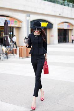 Suti venta limitada a estrenar 2014 otoño Cocorigo mujeres ropa de trabajo del volante delgado más tamaño doble botonadura trajes pantalón elegantes en Trajes con Pantalones de Moda y Complementos Mujer en AliExpress.com | Alibaba Group