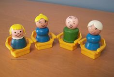 Set of Vintage Fisher Price Little People 4 yellow chairs and 4 wooden figures by RetrowareExchange on Etsy