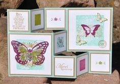 A thank you card with a tutorial . Fancy Fold Cards, Folded Cards, Trifold Shutter Cards, Stampin Up, Tarjetas Pop Up, 21st Birthday Cards, Mini Albums Scrap, Bee Cards, Up Book