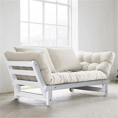 BEAT is a two seater sofa bed which can be transformed in bed or chaise longue, either side of the sofa - deco and design Solid Pine Furniture, Diy Furniture Couch, Hardwood Furniture, Diy Sofa, Diy Pallet Furniture, Do It Yourself Sofa, Fold Out Beds, Wooden Sofa Designs, Sofa Deals