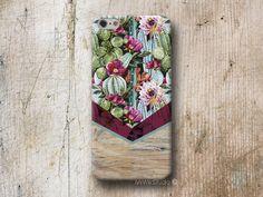 Cactus Floral Chevron Wood Phone Case For iPhone 4 4s 5 5s 5c 6 6s Plus Moto G2 #MrWildStudio
