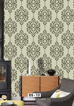 Reusable damask stencil pattern wall stencil design by DecorZe Damask Wall Stencils, Wall Stencil Designs, Stencil Wall Art, Stencil Painting On Walls, Free Stencils, Room Wall Painting, Wall Stickers Murals, Painted Floors, Wall Patterns