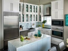 White Cabinets, Glass Tile Back Splash And Lighting
