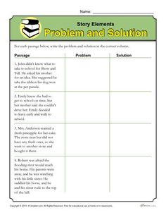 Story Elements Worksheet: Problem and Solution. This activity helps students identify the problem and solution as part of story elements by reading the passages Story Elements Worksheet, Text Structure Worksheets, Text Features Worksheet, Story Elements Activities, Passage Writing, Reading Passages, Reading Comprehension, Comprehension Strategies, Reading Strategies