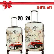"""Retro Car Printing,Hard Shell Luggage Suitcase , 20"""" 24"""" ,Super Lightweight But Very High Quality !!"""