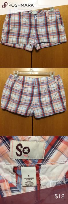 Preppy Plaid Shorts Cute peach, white, red and blue plaid shorts. Pockets. Zip and button closure. There's an ink mark on the inside of the leg but it doesn't show on the outside. Don't ask me how that happened, it's odd. But no flaws on the outside. SO Shorts