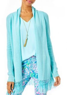 Lilly Pulitzer Women's Tatum Open Cardigan - Blue Ibiza
