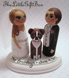 Wedding Cake Topper / Custom Painted Wood Peg by TheLittleGiftBox, $61.95. I loved the final product for our very personalized cake topper.