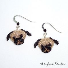 Beaded Fawn PUG earrings- sterling silver dangly dogs (Made to Order)