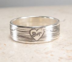 Woodland Wedding Band -  Faux Bois Ring - Engraved Wood Heart Ring - Personalized Ring on Etsy, $53.87 CAD