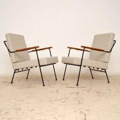 Pair of Retro Steel & Mahogany Armchairs by Ernest Race Vintage 1950's