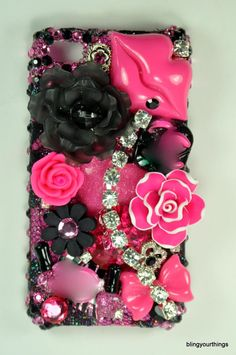 Pink and Black Girl's iPhone Case Girly Phone Cases, Cool Iphone Cases, Cool Cases, Diy Phone Case, Cell Phone Covers, Cool Diy, Accessoires Iphone, Coque Iphone, Iphone Accessories