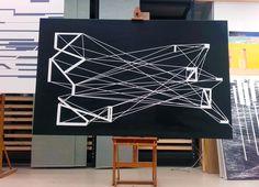Polygon graphic painting white black design