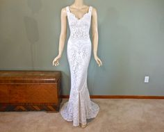 RESERVED Michelle Beach Wedding Dress Lace Mermaid WEDDING Dress BOHEMIAN wedding dress Handmade Wedding Gown Sz Small