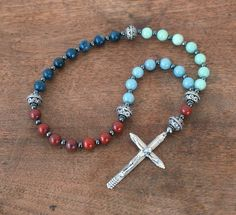 Colorblock Gemstone Christian Rosary. Anglican Prayer Beads. Modern Pocket Rosary. antiqued silver finish. Religious Gift  (178R) by HolyRocks on Etsy https://www.etsy.com/listing/176215820/colorblock-gemstone-christian-rosary